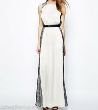 Mango Sleevless Lace Side Drape Long Maxi Party Wedding Bridesmaid Dress L 12 40