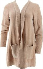 Denim & Co Petite Chenille Long Slv Open Cardigan Warm Beige P1X NEW A311581