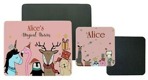 Personalised Children's Table Placemat & Coaster, Pink Magical Christmas Gift