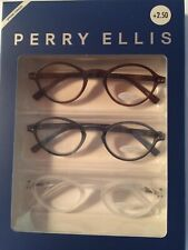 Perry Ellis Designer Readers   3 Pack - Oval Shape: Blue, Brown, Clear +2.50