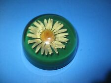 Vintage Mid Century Lucite Encased Daisy Paperweight Flower White & Yellow