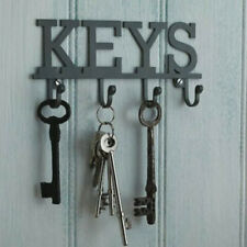Vintage KEY HOLDER Storage Hooks WALL MOUNTED Grey Metal Rack Hanger ShabH1