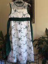 Girls Bonnie Jean Dress, Cream/Green,Size 16