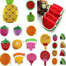 Fashion Women Cute Fruits Plush Mini Coin Purse Zipper Bag Change Purse Handbag
