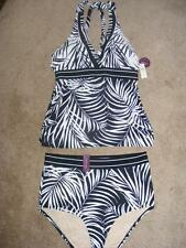 New CACIQUE Black & white palms Tankini swimsuit 14 no-wire bra comfort/support