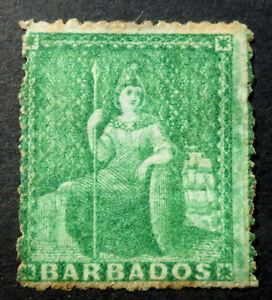 BARBADOS S.G.#13 UNUSED N/G PIN PERF 15.5 YELLOW GREEN TONED PERFS