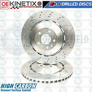 FOR AUDI RS4 B8 RS5 8F7 8T3 FRONT DRILLED HIGH CARBON BRAKE DISCS PAIR KINETIX