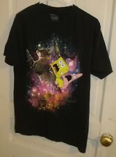 Spongebob Squarepants & Patrick Riding a Cat in Space Shirt-M-Nickelodeon-2015