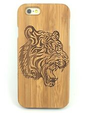 iPhone 5c Bamboo Wood Case ( Tiger Laser Engraving ) 100% Genuine Wood Cover ✔️