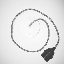 Ceiling Rose Pendant set / 1m black and white monochrome fabric cable