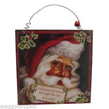 confezione da 2 Babbo Natale Wishes Gruccia di legno Placche - Vintage - Natale