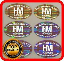 Ihr Logo und Text auf 600 Hologramm Etiketten Garantie Siegel Aufkleber 28x18mm