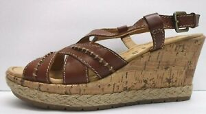 Naturalizer Size 10 Brown Leather Wedge Sandals New Womens Shoes