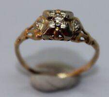VINTAGE 14CT YELLOW GOLD DIAMOND RING SIZE L 1/2
