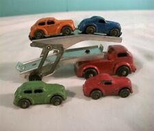 Vintage Barclay Toy Car Carrier With 4 Cars, 1940's