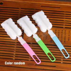 5X Kitchen Handle Sponge Brush Bottle Cup Glass Washing Cleaning Cleaner Tool