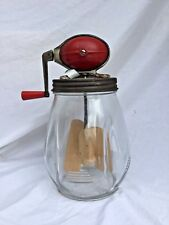 Vintage Antique Dazey Churn #4 Football 4 Quart Tulip Glass Wooden Paddle Butter