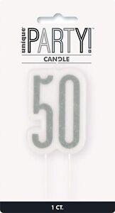 UNIQUE - BLACK & SILVER AGE 50 - 50TH BIRTHDAY CANDLE