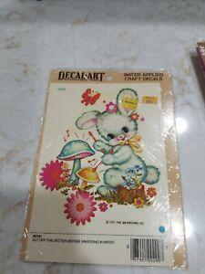 Vintage Meyercord Decal Art Bunny Mushroom 1981 Kids Room Home Decor NOS Craftin