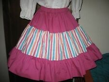 Fuschia Square Dance Skirt with Multistripe Trim L
