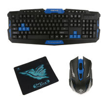 Slim USB 2.4 GHz Wireless Mouse and Keyboard Set for Dell Desktop Black&Blue