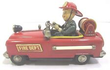 Vtg Tin Battery Operated 1950s Japan Bump N Go Fire Dept.No.12 Firetruck Toy