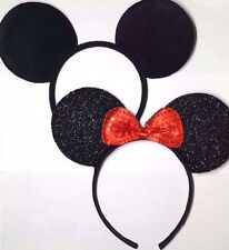 2 Mickey Mouse Ears Black and black red Bow Minnie Headband for Boys and Girls