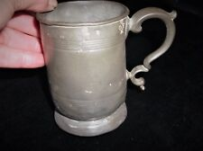 ANTIQUE YATES PEWTER TANKARD HALF PINT VR CROWN C.OF.M. RIBBED BODY