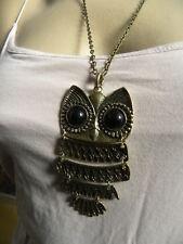 collier pendentif hibou bronzé, chouette cadeau offrir