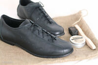 Classic Road Cycling Shoes, natural leather, handmade, vintage style, black