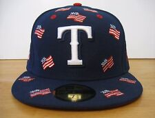 7 3/8 Men New Era Texas Rangers MLB All Flags Hat Cap USA Blue Fitted new NWT