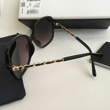 NIB CHANEL 5210Q 501/3c Black/Gold Leather Chain Sunglasses Frames