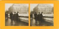 FRANCE Paris Le Pont Au Change, Photo Stereo Vintage Argentique 1900