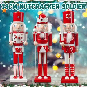 38cm Handcraft Walnut Puppet Wooden Nutcracker Soldier Christmas Decor Kids Cade