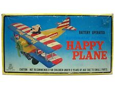 Vintage TPS Tin Japan Happy Plane Battery Operated B/O Mint w/Box & Insert Works