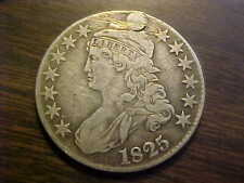 1825 CAPPED BUST HALF DOLLAR   HOLED PLUGGED VERY FINE RARE COIN