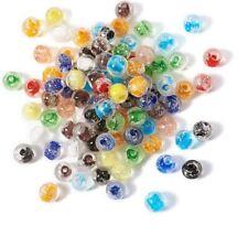 50 Glow In The Dark Beads Luminous Round Lampwork Glass 8mm 10mm 12mm White Mix