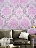 2-Pink Royal Floral Pattern Wallpaper Sticker Home Wall Accent Free Shipping