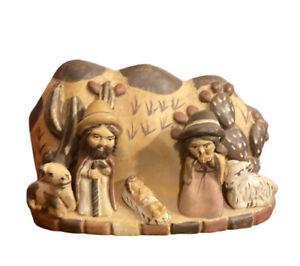 """Ceramic Nativity from Peru 5""""x 2.5"""" Native Tribal"""