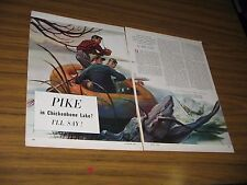 """1950 Magazine Picture """"Pike in Chicken Bone Lake?""""Fishing Drawn by Mel Phillips"""