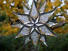 Bleiverglasung Fensterbild Facetten- Weihnachtsstern 34 cm eisbl in Tiffany