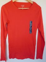NWT GAP Women's Favorite LS Crew T-Shirt Red/Orange XS S Free Shipping NEW