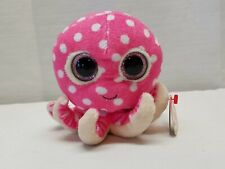 "TY 2014 Beanie Boos Ollie Octopus Pink White Polka Dot 6"" Plush Toy Doll w/ Tags"