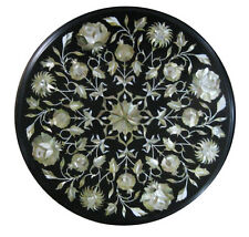 """18"""" Black Marble Coffee Table Top Mother of Pearl Stone Inlay Home Decor H1859"""