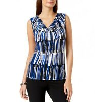 NINE WEST NEW Women's Printed Cowl Neck Blouse Shirt Top TEDO