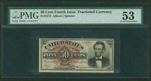 """1869-75 50 CENT FRACTIONAL CURRENCY """"LINCOLN"""" FR1374 CERTIFIED PMG ABOUT UNC.-53"""