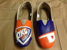 Okc thunder hand painted canvas women's shoes