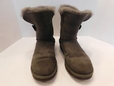 Ugg Australia Grey Gray Mid Ankle Suede Sheepskin Bailey Button Boots Size7 5838