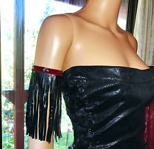 Armband Black Faux Leather Red Velvet Skulls Steampunk Fringe Arm Band Festival