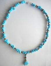 "American Indian Navajo Ghost Cedar Bead Juniper Berry Turquoise Bear 20"" Choker"